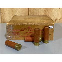 "APPROX 60 X DOMINION 12 GA 2 5/8"" SHOT SHELLS IN VINTAGE BOX"