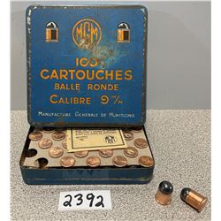 AMMO: 100 X MGM 9MM RD. BALL  IN TIN BOX