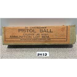 AMMO: 20 X 45 PISTOL BALL
