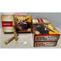 AMMO: 45 LIVE AND 15 BRASS NORMA 9.3X62