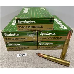 AMMO: 96 LIVE AND 4 BRASS REM 30-06 165GR