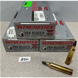 AMMO: 60 X WINCHESTER 204 RUGER 34GR
