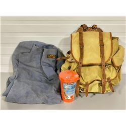 DUFFLE BAG, CANVAS BACKPACK AND SAFETY KIT