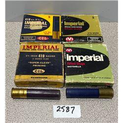 AMMO: 20 X IMPERIAL 410 GA 2 1/2 RIFLED SLUGS