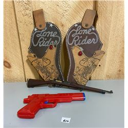 DECORATIVE HOLSTERS, WOOD MODEL RIFLE, TOY GUN