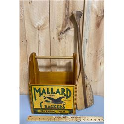 WOODEN MALLARD CRACKERS BOX WITH PADDLE