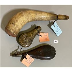 16.5 POWDER HORN & LEATHER SHOT POUCH & BRASS FLASK.