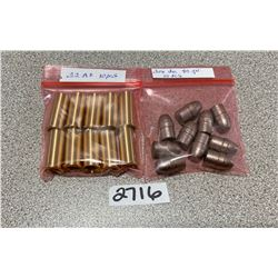 BRASS: 10 X .32 RF - NEW H& C BRASS & 10 X 90 GR HEELED BULLETS