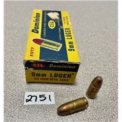 AMMO: 50 X DOMINION 9MM LUGER, 124 GR
