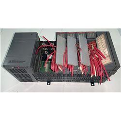 ALLEN-BRADLEY SLC500 POWER SUPPLY RACK W/CARTRIDGES AS SHOWN