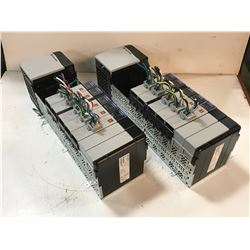 (2) ALLEN BRADLEY 1756-A10 10 SLOT CHASSIS W/ MODULES