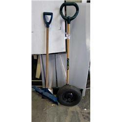 2 snow shovels and wheel barrow tire