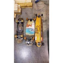 SECTOR 9 LONGBOARD, 2 SKATEBOARDS AND SKATEBOARD DECK