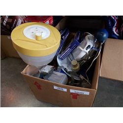 BOX OF NEW CHICKEN COOKERS, WITH SALAD SPINNER IKEA LIGHT, KETTLE AND MORE