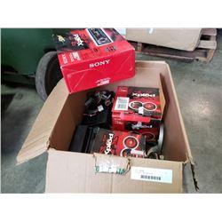 Box of car audio equipment