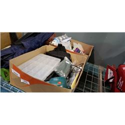 2 boxes of portable loo, hardware organizer, towels and