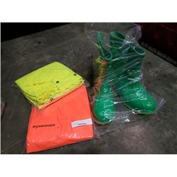 Pair of green size 9 steel toe boots and high vis gear