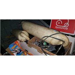 2 Boat bumpers and box of fishing gear