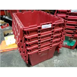 Stack of 5 built-in lid totes
