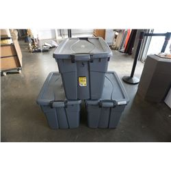 3 LARGE RUBBERMAID STORAGE TOTES W/ SNAP ON LIDS