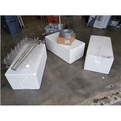 3 large Styrofoam coolers with plastic trays, tripod and vinyl tubing 3/8 inch 1/2 inch 100 feet eac