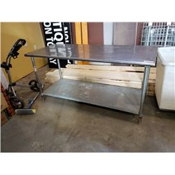 Approximately 3ft x 7ft stainless shop table
