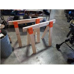 Pair of wooden sawhorses
