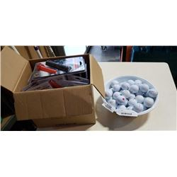 Box of new flashlights with 50 experienced golf balls