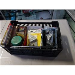 TRAY OF HARDWARE, HOLE SAW BITS, PIPE CUTTER