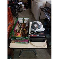 Box of tools and portable air compressor
