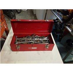 RED TOOLBOX FULL OF WRENCHES