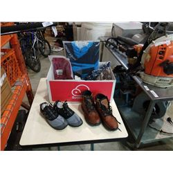Box of new water shoes, boots and shirts  - boots size 39, shoes size 43