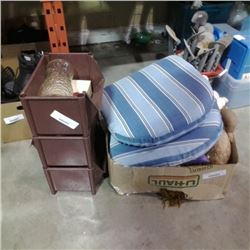 BOX OF THROW BLANKET, BATH RUG AND 2 STUFFED ANIMALS WITH 3 STACKING ORGANIZERS WITH CONTENTS