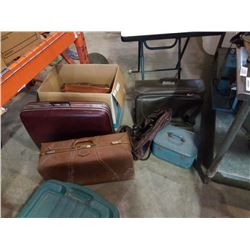LOT OF VINTAGE LEATHER SUITCASES, BRIEFCASES, BAGS