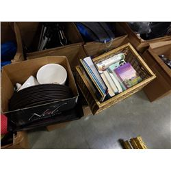 LOT OF HOUSEHOLD CHARGERS, BOOKS, ETC