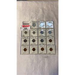 15 CANADIAN  CENTENNIAL 1967 COINS .800 SILVER 25 CENT, 10 CENT, 5 CENT, 1 CENT