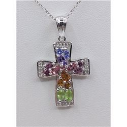 STERLING SILVER GENUINE GEMSTONE AND WHITE SAPPHIRE CROSS PENDANT W/ STERLING CHAIN W/ APPRAISAL $80
