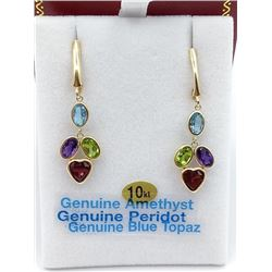 10KTS YELLOW GOLD GENUINE GEMSTONE DANGLER EARRINGS W/ APPRAISAL $1550, 4.5CTS OF GEMSTONE