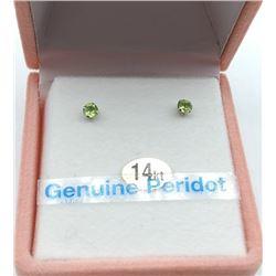 14KT WHITE GOLD 3mm GENUINE PERIDOT STUD EARRINGS - RETAIL $150, 0.21CTS PERIDOT