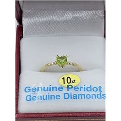10KT YELLOW GOLD 5.13x5mm GENUINE PERIDOT AND DIAMOND HEART RING W/ APPRAISAL $1545 - 0.5CTS DIAMOND