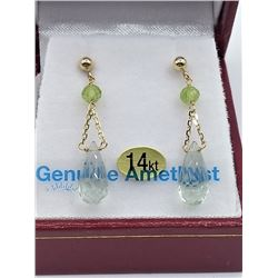 14KT YELLOW GOLD GENUINE GREEN AMETHYST AND PERIDOT BRIOLETTE EARRINGS W/ APPRAISAL $1430 - 2.48CTS