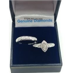 STERLING SILVER GENUINE DIAMOND LADYS ENGAGEMENT RING AND WEDDING BAND W/ APPRAISAL $900 - SIZE 7, 2
