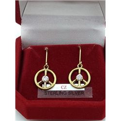 """STERLING SILVER PLATED CZ """"PEACE-SIGN"""" EARRINGS - RETAIL $60"""