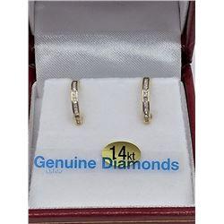 14KT YELLOW GOLD DIAMOND HOOP EARRINGS W/ APPRAISAL $1885 - 32 DIAMONDS 0.25CTS