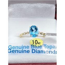 10KT YELLOW GOLD 8x6mm GENUINE BLUE TOPAZ AND DIAMOND RING W/ APRAISAL $2220 - SIZE 6.25, 1.3CTS TOP