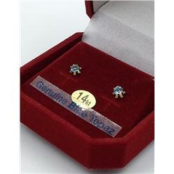 14KT YELLOW GOLD 3mm GENUINE BLUE TOPAZ STUD EARRINGS W/ APPRAISAL $595, 0.25CT TOPAZ