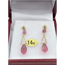 14KT YELLOW GOLD GENUINE RUBELLITE BRIOLETTE EARRINGS W/ APPRAISAL $1215, 2.42CTS RUBELLITE