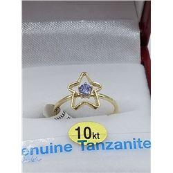 "10KT YELLOW GOLD 3mm GENUINE TANZANITE BABY ""STAR"" RING W/ APPRAISAL $1235, 0.2CTS OF TANZANITE, SIZ"