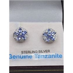 "STERLING SILVER GENUINE TANZANITE ""STAR"" EARRINGS W/ APPRAISAL $910 - 10 TANZANITE 0.5CTS"