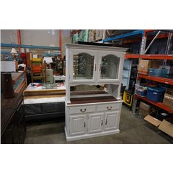 2 PIECE PAINTED WHITE BUFFET AND HUTCH